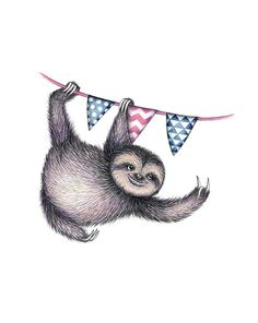 Animal Party - Sloth / art / illustration / drawing / colored pencil / fun
