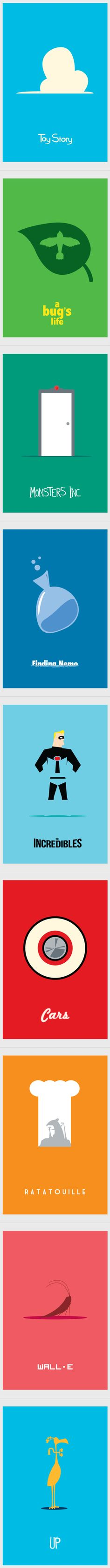 Pixar Minimalist Movie Posters by Adam Thompson