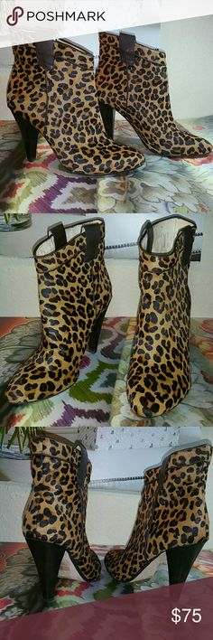 ELLA MOSS Pre Owned In Great Condition Authentic Benny Booties. Leopard print dyed calf hair. Smooth Leather trims the banded top line. Side tabs angle shafts for easy pull on. Almond Toe. Padded leather insoles. Leather lining and outsoles. Minor wear nothing major. These booties still look and smell new. Ella Moss Shoes Ankle Boots & Booties