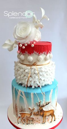 This winter wonderland cake is gorgeous! - A bit of Christmas Magic - Cake by splendorcakes Holiday Cakes, Christmas Desserts, Christmas Baking, Christmas Cakes, Christmas 2015, Christmas Wedding, Merry Christmas, Pretty Cakes, Beautiful Cakes