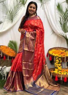 Sarees Online | Buy Sarees Online |@ ibuyfromindia.com Red Saree, Saree Dress, Saree Blouse, Sari, Latest Silk Sarees, Art Silk Sarees, Silk Sarees With Price, Silk Sarees Online, Saree Wedding