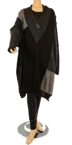 Barbara Speer Oversize Black & Grey Patchwork Fine Merino Wool Knit