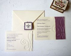 fleur de lis wedding stationery