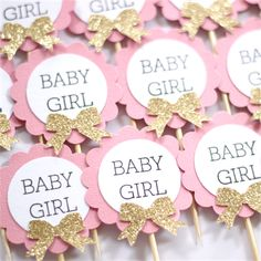 12 Cupcake Toppers - Baby Girl Baby Shower Pink, white and Gold Glitter bows