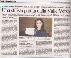 CORDINI RITA BY ILARIA RICCI: L'articolo sul Giorno
