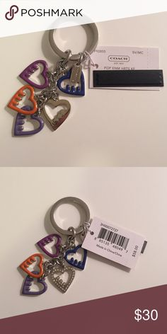 NWT Coach keychain with hearts Keyring with 5 hearts and a little coach emblem on it. Brand new with tags. Accessories