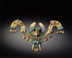 Peru ~ North Coast | Nose ornament; gold and turquoise | Moche Culture | 100-800 AD