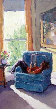 """Quiet time in favorite chair"" gina brown book nooks, i love books, Reading Art, Woman Reading, Reading Books, I Love Books, Good Books, Illustrations, Illustration Art, Henri Matisse, Book Nerd"