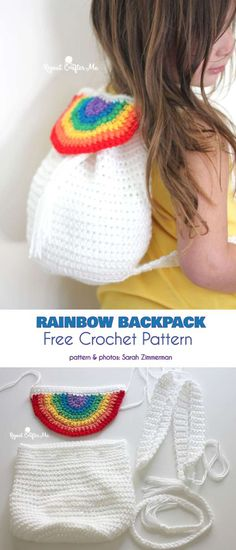 Crochet Backpack Rainbow Backpack Free Crochet Pattern - Kids love backpacks that they can keep their favorite things in as they go about learning the world. This fun project for a girl's backpack Crochet Backpack Pattern, Bag Pattern Free, Bag Patterns To Sew, Crochet Patterns, Pattern Sewing, Crochet For Kids, Crochet Baby, Free Crochet, Knit Crochet