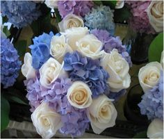 LOVE this bouquet.  This is very similar to the bouquet I will have.  Hydrangeas w/ shades of purple & ivory roses.