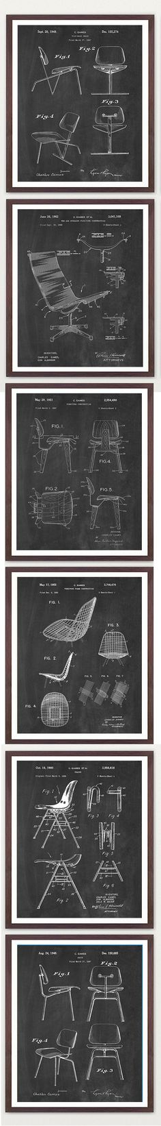 Eames chair patents, U. Chair Design, Furniture Design, Cool Office Desk, Interior Design History, Contemporary Couches, Presentation Layout, Charles & Ray Eames, Swinging Chair, Sketch Design