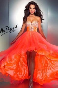 A fashion look from March 2013 featuring platform shoes and red prom dress. Browse and shop related looks. Orange Gown, Orange Prom Dresses, High Low Prom Dresses, Grad Dresses, Formal Dresses, Neon Dresses, Wedding Dresses, Pageant Dresses, Dresses Dresses
