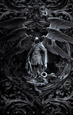 "The art of Nekro - photomanipulation - Archangel Michael kills Satan; titled, ""Three circles of hell"" Dark Fantasy Art, Dark Art, Final Fantasy, Archangel Tattoo, Archangel Azrael, Statues, Art Noir, Arte Obscura, Angel Warrior"