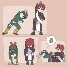 Stretching | Gaara really looks like a teddy bear he's so lovely
