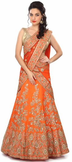 Orange and gold lehenga embellished in zardosi and sequins. Indian fashion. Buy Online from the link below. We ship worldwide (Free Shipping over US$100) Price - $1,249.00 Click Anywhere to Tag http://www.kalkifashion.com/orange-semi-stitched-lehenga-embellished-in-zardosi-and-sequin-embroidery-only-on-kalki.html