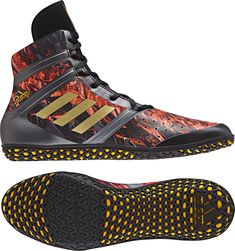 Adidas Flying Impact Limited Edition Black Fire Red Wrestling Shoes  Wrestling Shoes 7e1d8a925