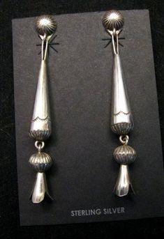 d60b0dd3b Long Doris Smallcanyon Native American Navajo Silver Squash Blossom Earrings
