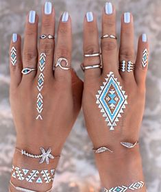 Boho jewelry // Rings, bracelet, necklace, earrings + flash tattoos // Bohemian style silver and turquoise // Bronze and Gold Jewellery // For Gypsy wanderers + Free Spirits // GypsyLovinLight Boho Jewelry, Silver Jewelry, Jewelry Accessories, Gold Jewellery, Jewelry Rings, Silver Earrings, Silver Ring, Fine Jewelry, Jewelry Design