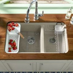 Kohler Riverby 33 x 22 Double Basin Undermount Kitchen Sink Classic Kitchen, New Kitchen, Kitchen Sinks, Kitchen Cabinets, Kitchen Ideas, Kitchen Sink Ideas Undermount, Kitchen Counters, Cheap Kitchen, Kitchen Pictures