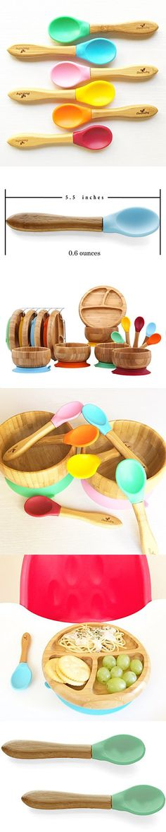 """Avanchy Baby Toddler Bamboo Feeding Spoon. Fda Approved, Bpa Free Silicone. A Great Baby Gift Set! 2 Pack, 5.5"""" L X 1.5"""" W, Green"""
