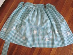 Gingham Check Apron Turquoise White Embroidered Applique by LuRuUniques on Etsy