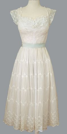 Vintage 1950's White Lace Eyelet Delicate Dress Shelf Bust Scoop Back