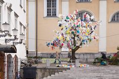 "Street art by Miha Artnak, Slovenia  ""The Rise of the Fall"", material: plastic bags"