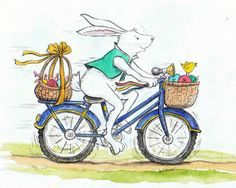 """This week's Illustration Friday's word is """"bicycle"""" so I'm posting a bicycle riding Easter Bunny! His mode of transportation is also approp. Happy Easter, Easter Bunny, Yorkshire Cycling, Mtb, Bicycle Clips, Ride Drawing, Happy Thanksgiving Day, Moon Art, Whimsical"""