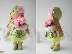 Sol muñeca Tilda rubia verde hecho a mano de por AnnKirillartPlace