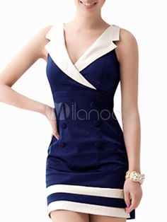 Navy Two-Tone V-Neck Mini Dress