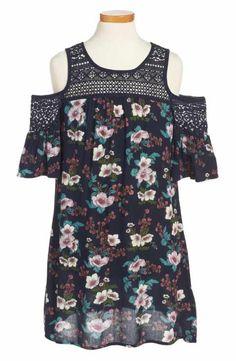 Zoe & Rose Crochet Inset Floral Dress (Big Girls)