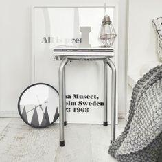wire cage lamp, graphic clock, andy warhol quote poster, white interior, Scandinavian interior, Nordic interior frichic.com.