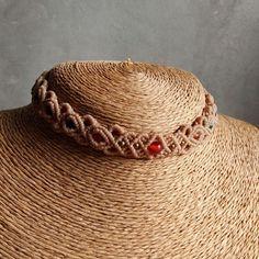 Macrame Choker Necklace Agate Quartz Stone Cotton Waxed Cord Handmade #Handmade…