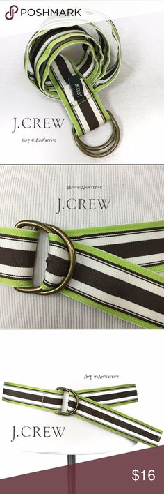 J Crew fully adjustable stripes ribbon belt Great acetate striped belt from J. Crew in ivory, brown and apple green. Great condition. Please read my 'about me' listing for my closet policies before any inquiries/offers. For preloved items, respectful/reasonable offered 'considered'. Keep in mind PoshMark takes 20% commission from each buyers profits! J. Crew Accessories Belts