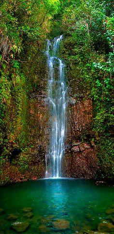 Serene Waterfall, Maui, Hawaii.