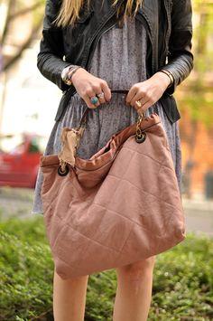 blush-colored purse