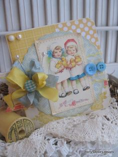Vintage style EASTER bonnet little girls with baby chicks a happy easter stitched handmade card