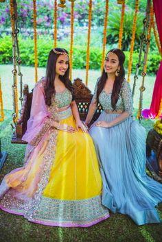 Beautiful Goa Wedding With a Pastel Bride And Her Chic Wardrobe! Bridal Dupatta, Bridal Mehndi Dresses, Sangeet Outfit, Mehendi Outfits, Indian Wedding Outfits, Indian Outfits, Indian Clothes, Indian Weddings, Stylish Blouse Design