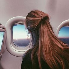hair, travel, and airplane
