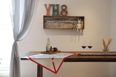 Younhyun DIY Shelf made by Old Navy Tile , Wood Carving Rabbit Doll , Font Tile / 윤현상재 올드 네이비 타일 (핸드메이드 선반) , 목각토끼인형 , 폰트 타일