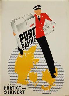 Lauritz.com - Grafik - Plakat, 'Som Postpakke - hurtigt og sikkert', litografi, 1935 - DK, Vejle, Dandyvej