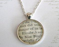Elizabeth, Pride and Prejudice Necklace, Novel, Recycled Book Pendant, Jane Austen