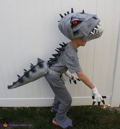 I am still amazed that I even pulled this costume off. The idea started when my 7 year old son decided that he wanted to be Indominus Rex for Halloween. I looked up different pictures and was pretty intimidated by the task at hand. Creative Costumes, Diy Costumes, Costume Ideas, Rex Costume, Costume Works, Halloween Costume Contest, Halloween Diy, Mario Brothers Costumes, Indominus Rex