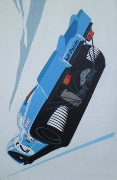"""The Gulf Porsche 917K Pedro Rodríguez and Leo Kinnunen drove to victory at the World Sportscar Championship races in 1970 and the Daytona 24 in 1971. Artwork entitled """"917"""" byArthur Benjamins."""