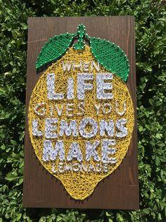 String Art Lemon/Lemon Wall Art/String Art Fruit/Nail and String Art/String Art/Lemon Wood/Yellow Lemon/Lemon/Lemon Home Decor by StringArtSoulShop on Etsy