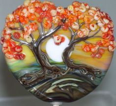 WSTGA~TOGETHER IN THE AUTUMN OF LIFE~TREE handmade lampwork focal glass bead SRA By Molly Cooley