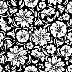 White seamless floral pattern on black. Vector illustration. Royalty Free Stock Vector Art Illustration
