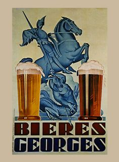Saint George Dragon Beer Biere France French Vintage Poster Repro Free s H | eBay
