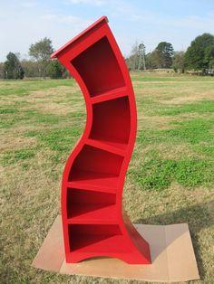 Handmade 6FT curved bookshelfBright Red