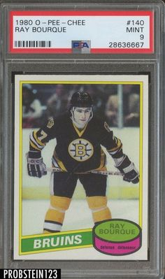 1980 O-pee-chee Ray Bourque Rc Hof Psa 9 (oc) Hockey Cards, Baseball Cards, Ray Bourque, Boston Bruins Hockey, Nhl Players, Best Player, Ice Hockey, Auction, History